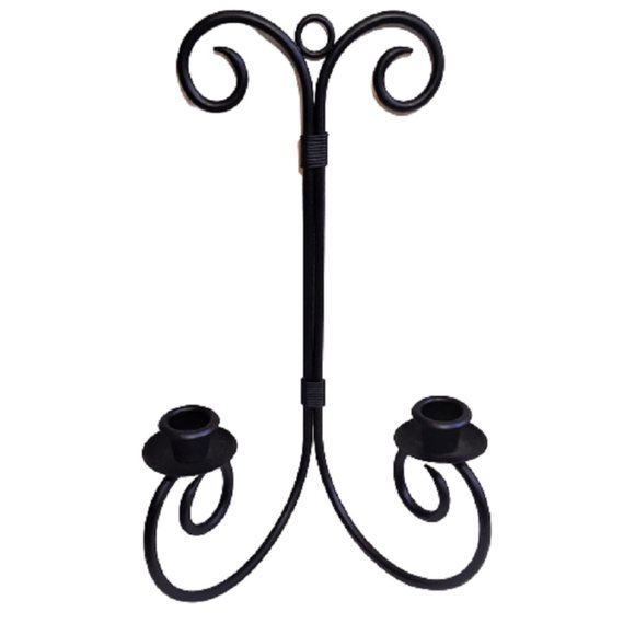 Vintage Black Iron Metal Double Candle Wall Decor